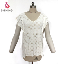 Girls pretty hollowed-out t-shirt fashion lady sexy lace hollow out shirt