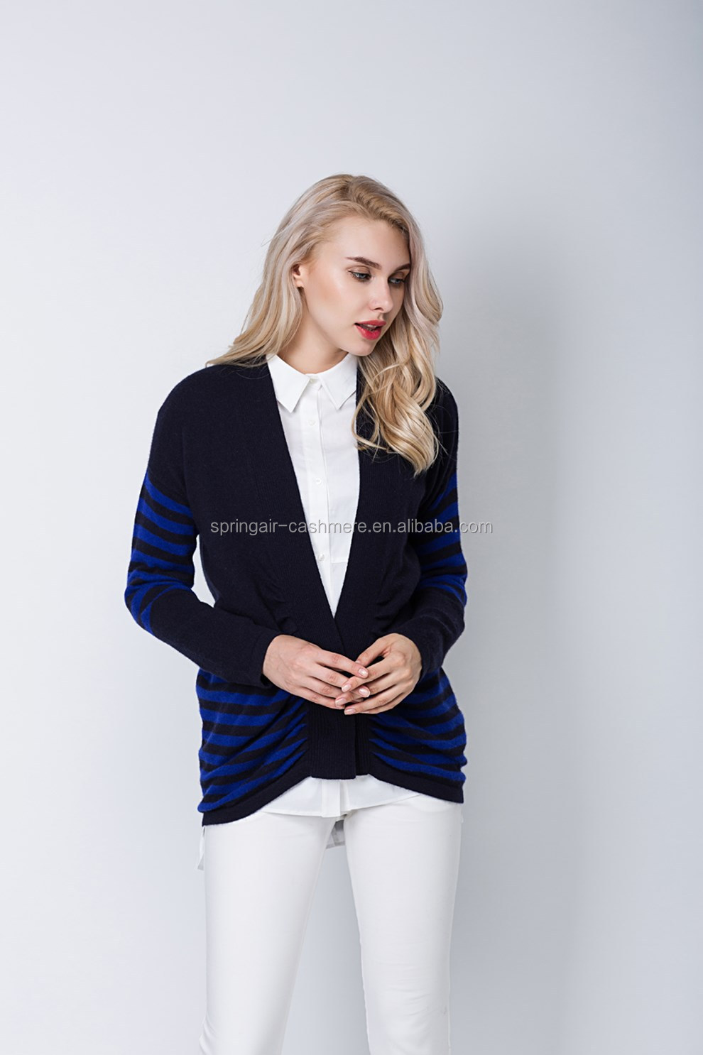 women knitted stripe sweater cardigan pure cashmere