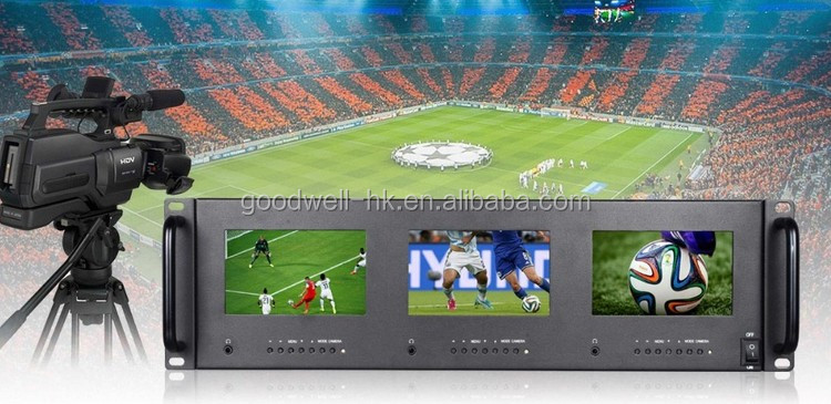 Made in China T51 Triple 5 Inch 2 RU Rack Mount LCD Monitor with SDI HDMI AV Input