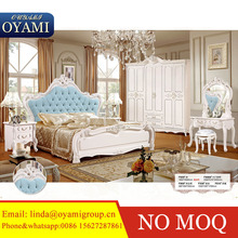 Antique white color fantastic wooden bed classic canopy bed luxury bedroom furniture