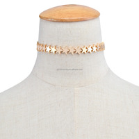 Fashion personalized 14kt gold petite starburst choker necklace
