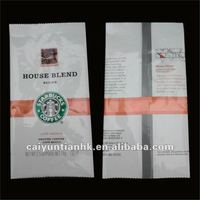 House blend medium aluminum foil coffee back-sealed bag with tear notch