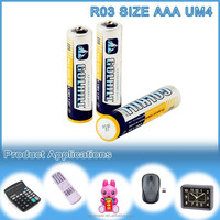R03 UM4 carbon battery size aaa