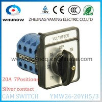 Yaming Cam switch selector LW26-20YH5/3 Voltmeter voltage conversion silver contact 12Terminals 3poles 7positions rotary switch