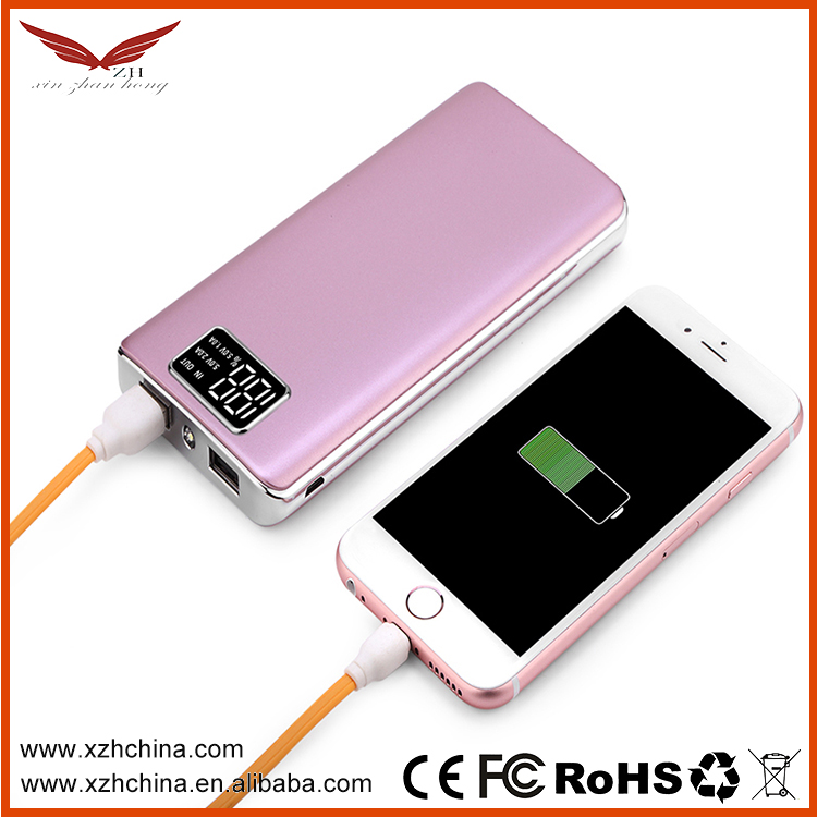 New Ultra Slim Portable Power Bank 10000mah,Dual USB Flashlight Power Bank Charger With LED Reading Display