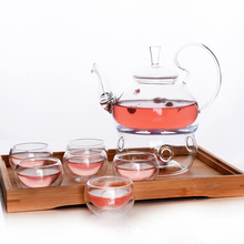 Promotional Glass Teapot Gift Set Chinese Tea Set With Tea Warmer