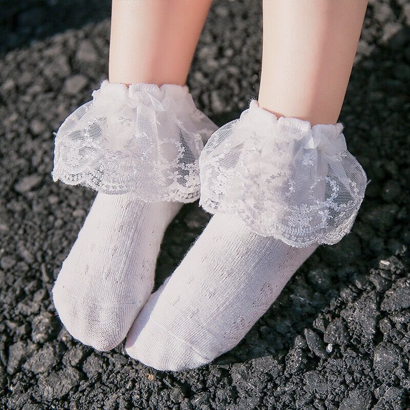 Bonypony Princess 1-10 Years Baby Girls Lace Ruffle and Ripple Edg e Turn Cuff Socks Vintage Lace Frilly Ankle Cotton Socks