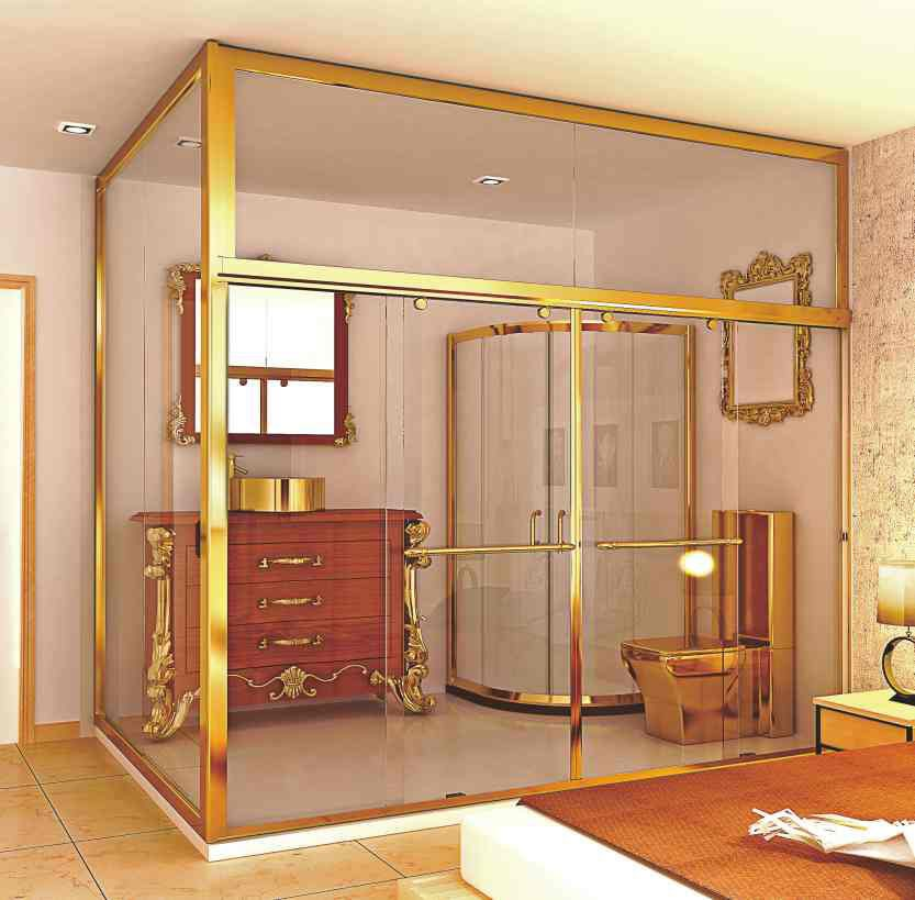 rectangle shape golden color stainless steel sex shower room
