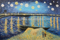 Starlight Over The Rhone Famous Van Gogh Repro Stretched 24X36 Oil Painting