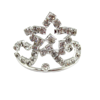 wholesale latest design charming small star metal alloy tiaras rhinestone crowns