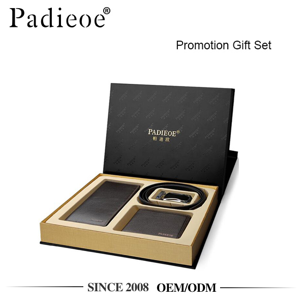 Padieoe LH03 genuine leather wallet belt set promotional gift
