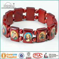 Religious Wood Bead with Changeable Saint Picture Rosary Bracelet