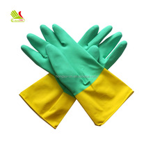 Best Ladies Bicolor Cotton Lined Latex Household Rubber Hand Waterproof Washing Gloves