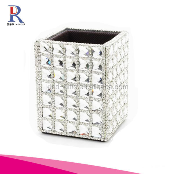 Rhinestones Trim Organizer Pencil Pen Makeup Brush Holder