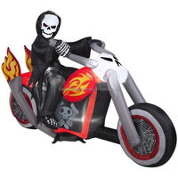 inflatable Halloween Skeleton Reaper On Motorcycle W Flames Airblown