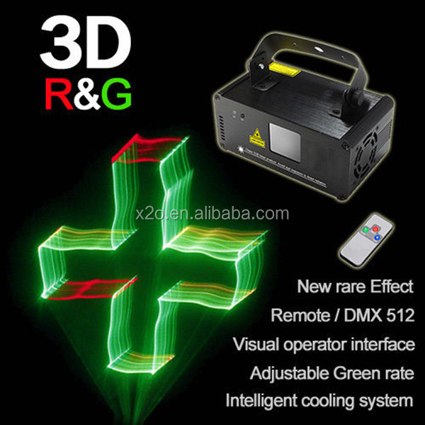 Red+Green color 3D effect Mini Laser Projector with scanner (single hole)