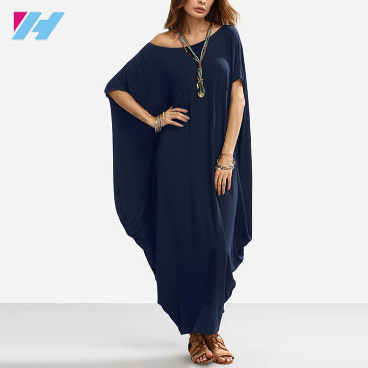 Asymmetric Shoulder Dolman Sleeve Draped Cocoon Elegant Maxi Dress Ladies