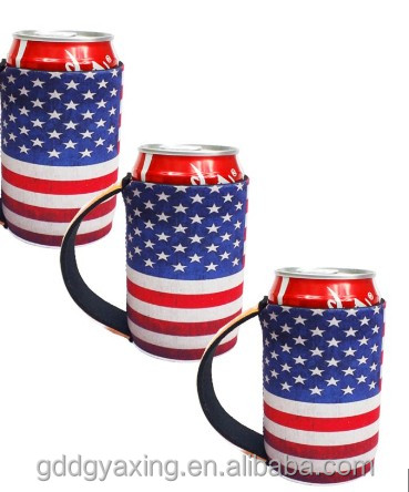 Sublimated neoprene fold stubby holder with handle