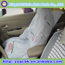 Printed logo China ZX manufacture wholesale universal disposable car seat cover/Plastic clear disposable car seat cover with PE