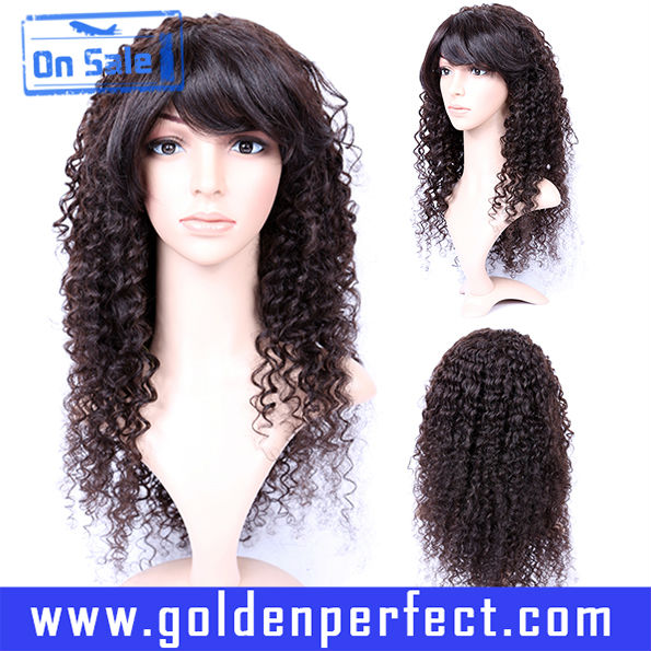 In Stock Indian Virgin Remy Real Human Hair Kinky Curly No Glue Top Full Lace Wigs
