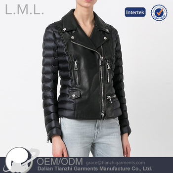 wholesale long sleeve short high quality woman leather jacket
