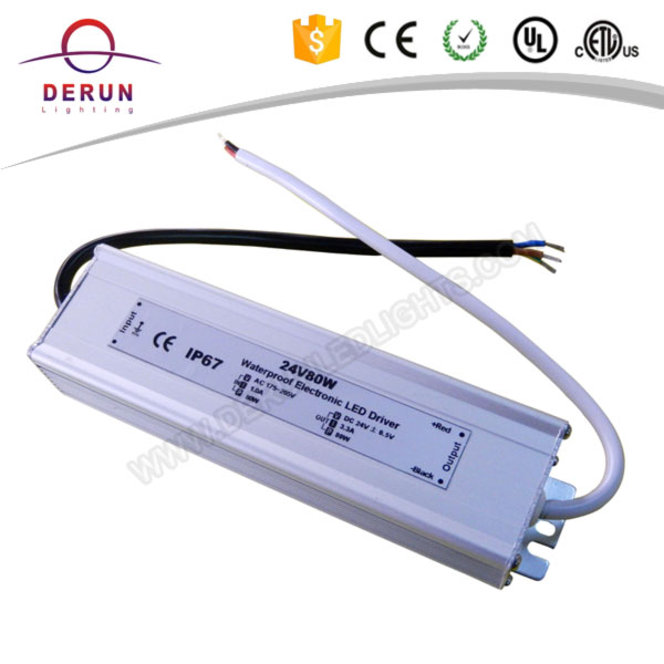 Good quality cheap price ip67 12v 24v 80w waterproof power supply