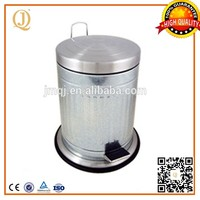 12L galvanized steel trash can foot pedal can