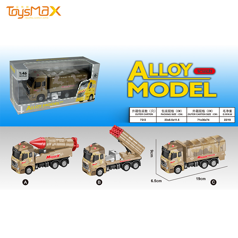 Europe Style 2019 New 1:46 Scale Popular Pull Back Alloy Military Truck Toys Battery operated Die Cast Model Truck