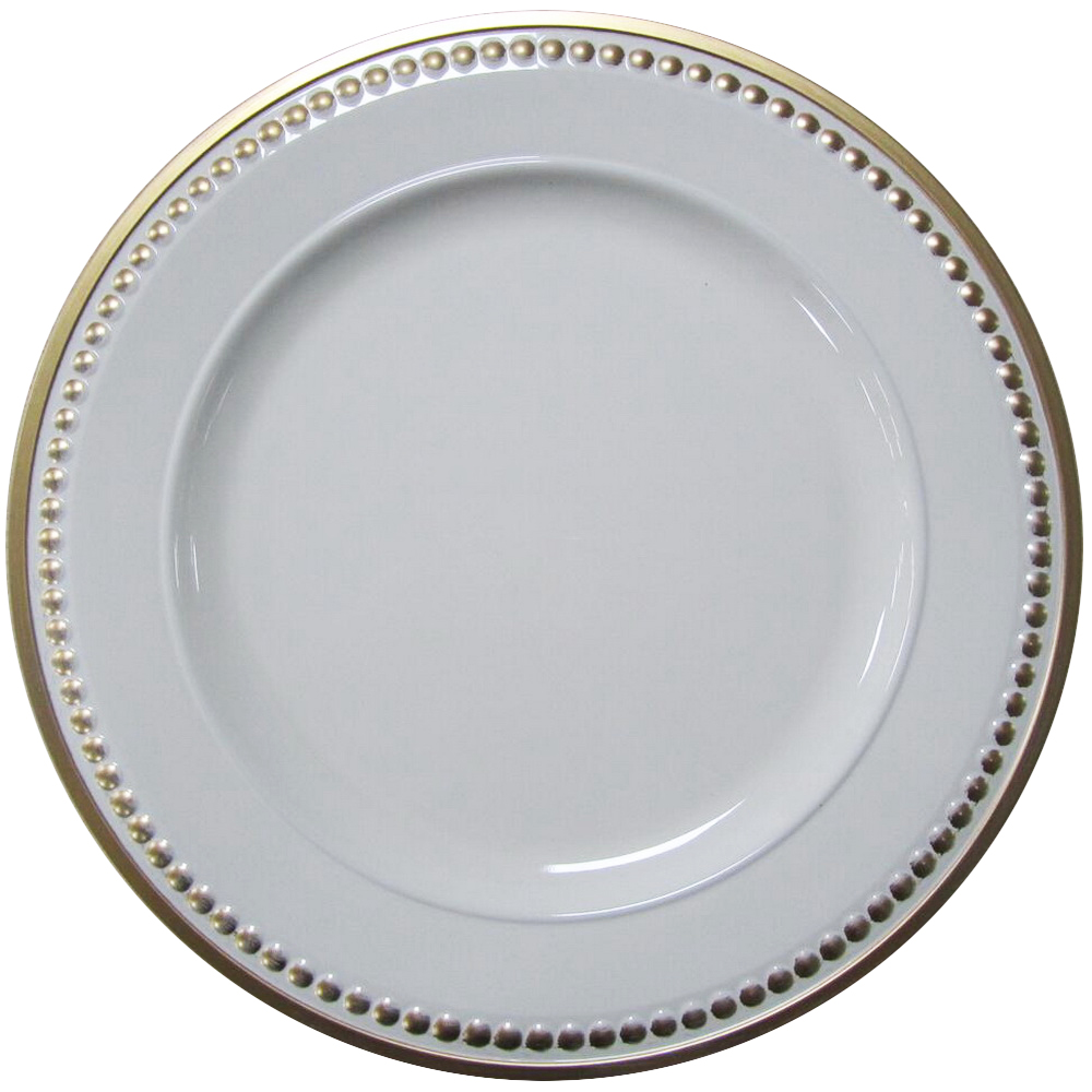 White Wholesale Clear Beaded Fuzhou Plastic Charger Plates in Dishes&Plates