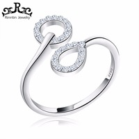 Simple Design Wedding Rings with CZ Stone Pure Silver S925 Jewelry RISR09