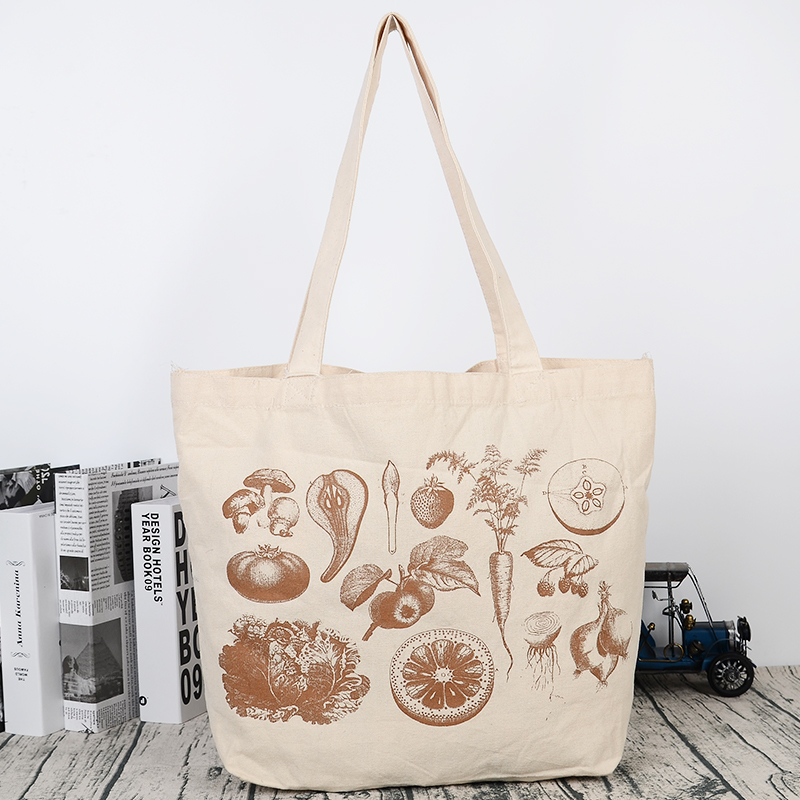 Eco Supermarket Vegetable Bulk Custom Printed Large Canvas Tote Shopping Bag