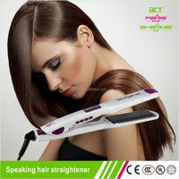 New Arrival 2015 first intelligent voice function mini teeth design personalized hair straightener hair flat iron