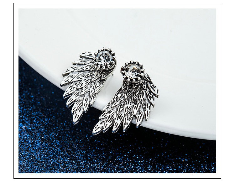 Retro stereo angel wings earrings feather crystal alloy sharp earrings