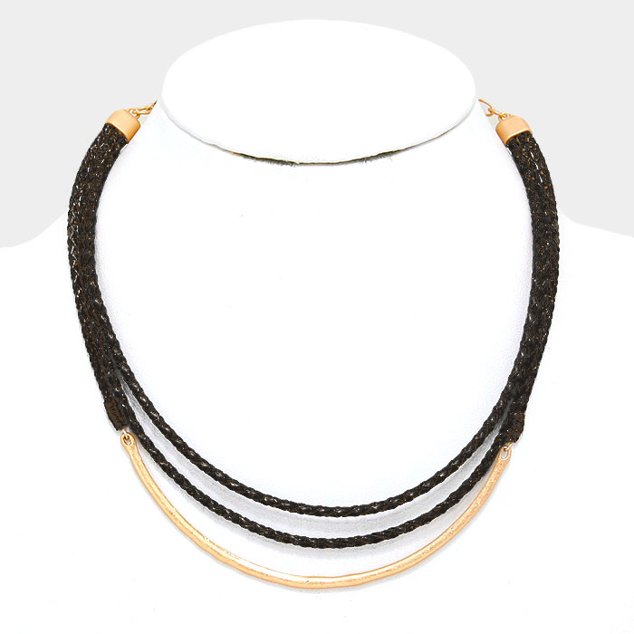 YMN-30432 Curved metal bar & double layer braided faux leather necklace