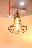Loft Indoor Lighting Matte Black Metal Cage Pendant Lamps