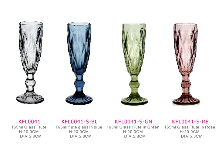 vintage glass champagne cups have four kinds of color wedding wine glass goblet