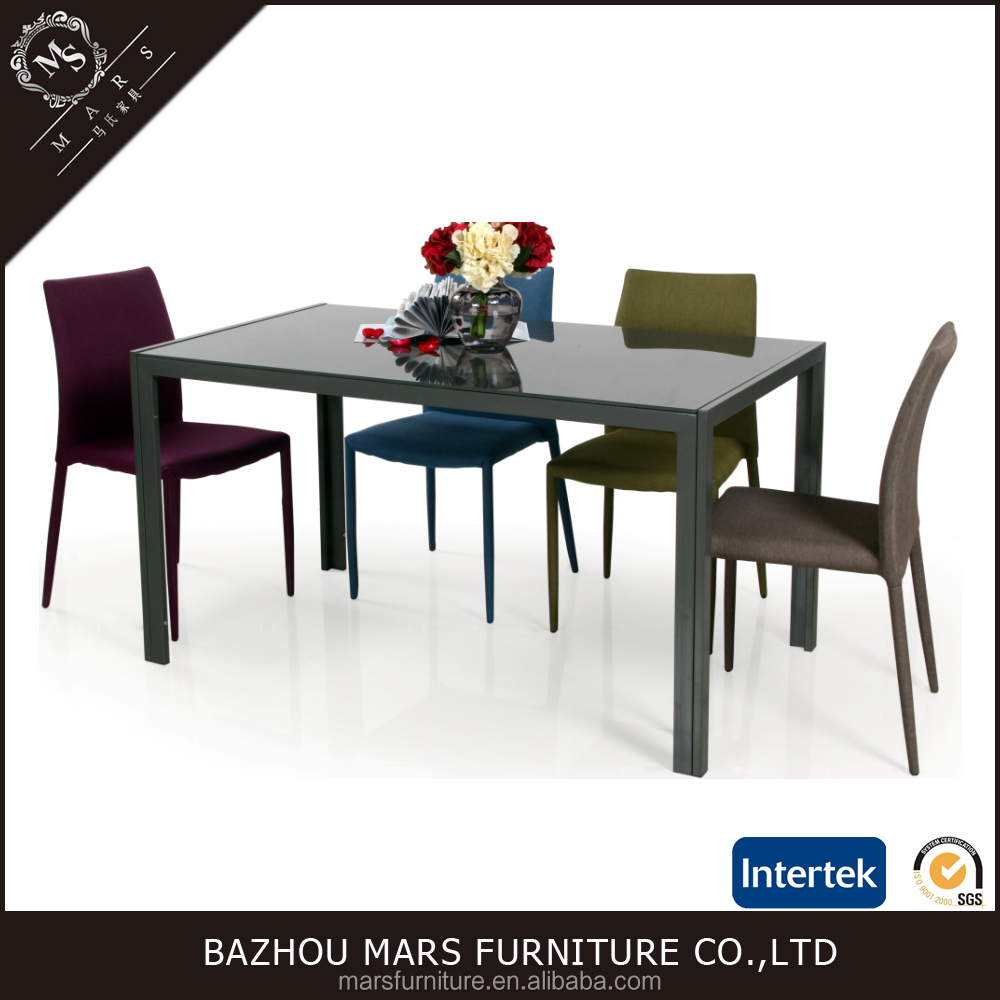 Metal Legs And Top Glass Dining Table With Modern Design Dining Room Furniture
