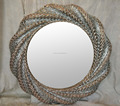 Nouveau Ornate Middle East Style Round Sun-Shape Mirror, Crystal Diamond Luxury Decoration Wall Mirrors