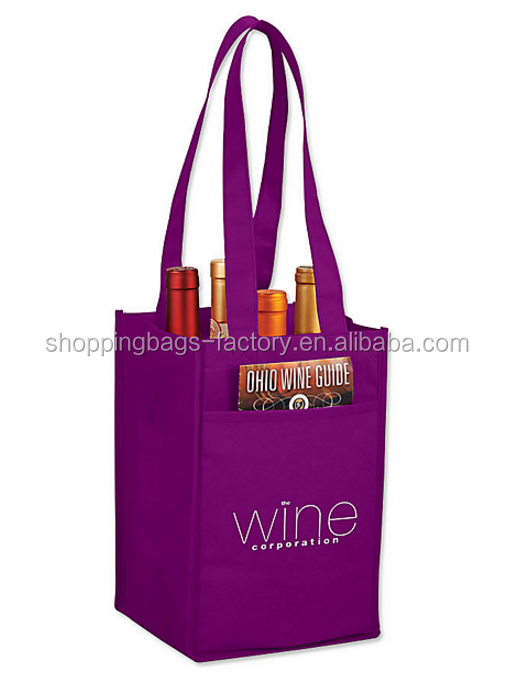 Bulk reusable 4 pack wine tote non woven shopping bags for promotion