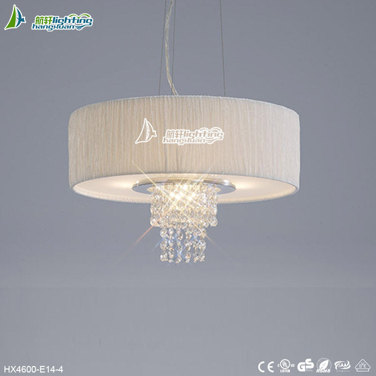 Hot sales contemporary crystal fabric pendant light with clear wireHX4600-E14-4
