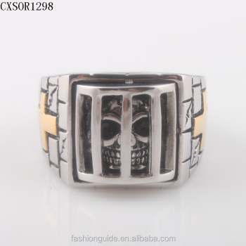 IP Gold New Design Big Mens 316L Stainless Steel Biker Ring Jewelry With Cross