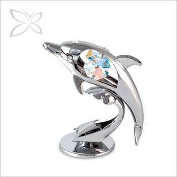 Sea animal Mini Dolphin Souvenirs Chrome Plated Clear glass Wedding Giveaway Gift