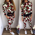 Fashion Flower Sublimated Hoodie Sweatshirt Fleece Crew Neck Sweatshirt Women Autumn Casual Sets Womens Tracksuits Girls Outfit