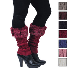 China wholesale fashion 100% acrylic yarn customed knitting leg warmer