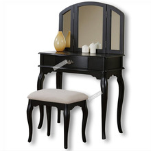 Tri-fold Mirror Vanity Table with Stool Set, Black&White