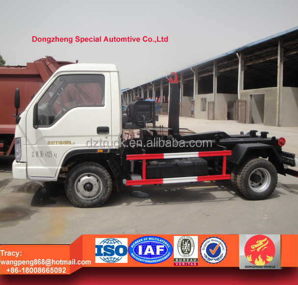 foton mini hook lift garbage truck, 2ton roll off dustcart for sale