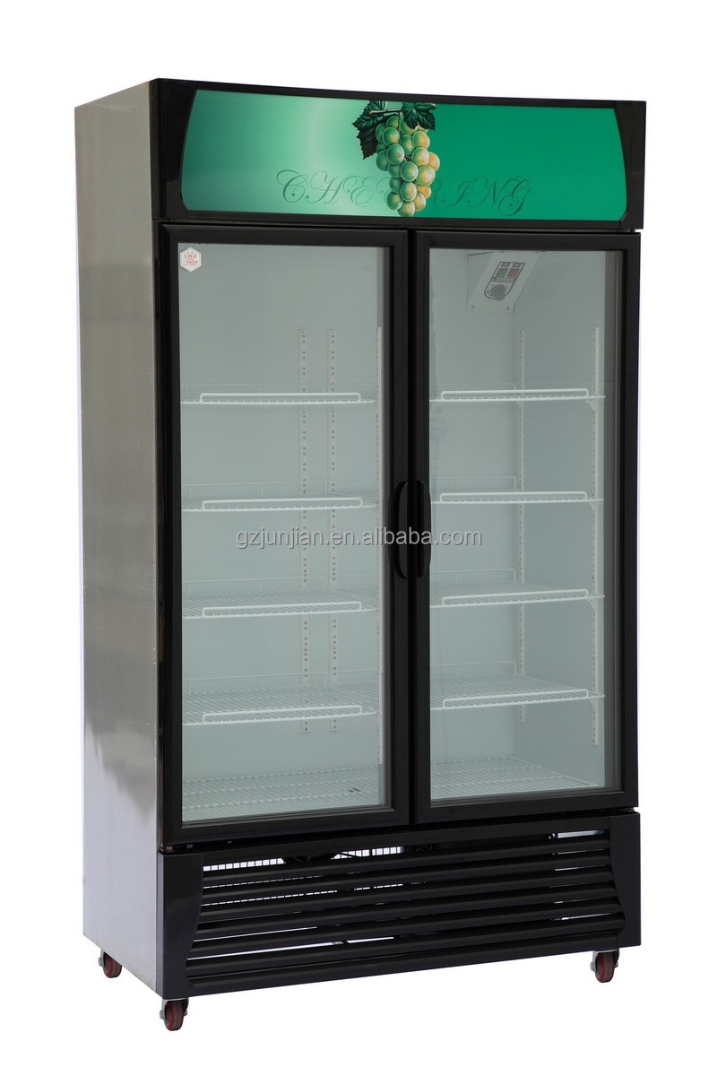 Supermarket double door display energy drink fridge for sale
