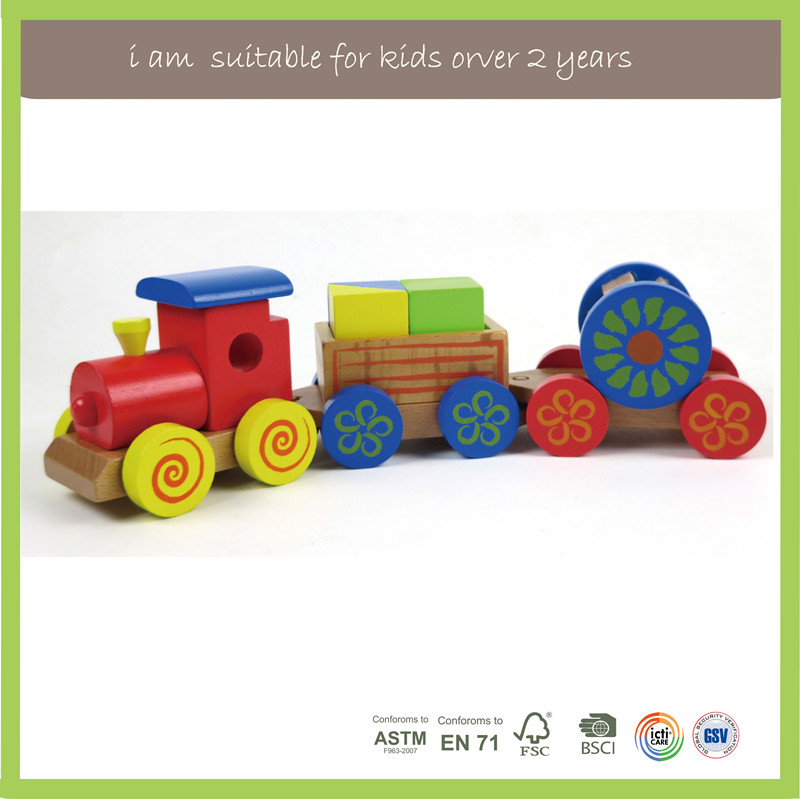 EN71/FSC/BSCI/ASTM Promotional Pull And Push Wooden Toy Train For Kids