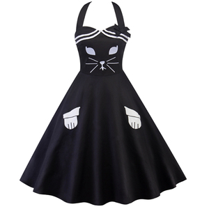 Latest Designs women sleeveless cute cat embroider black A-Line dress
