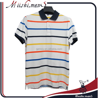 latest design 100 cotton pique knit yard dyed strip polo collar t shirt